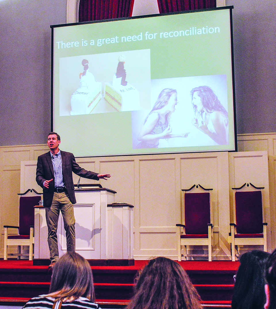 Minister Steve Cloer preaches on reconciliation at the Southside Church of Christ in Fort Worth