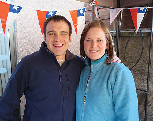 Chad and Sara Lukkason at home in Concepción