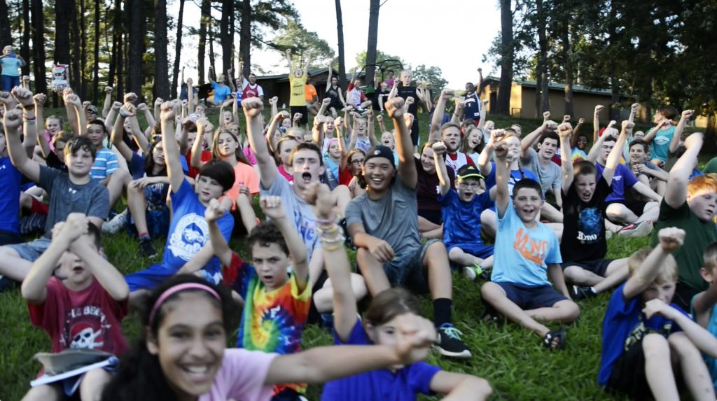 Young people show their enthusiam at Mid-South Youth Camp in West Tennessee.