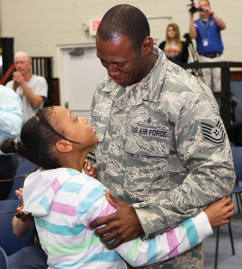 SERVICE MAN SURPRISES DAUGHTER AT CHRISTIAN SCHOOL