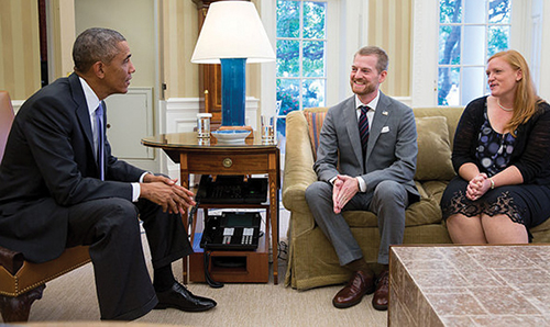 Dr. Kent and Amber Brantly meet President Barack Obama in the White House in September 2014.