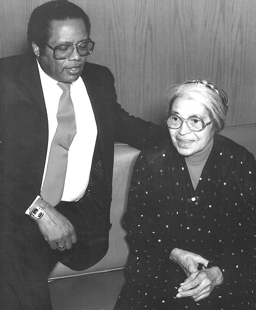 Longtime civil rights attorney and church elder Fred Gray talks with Rosa Parks