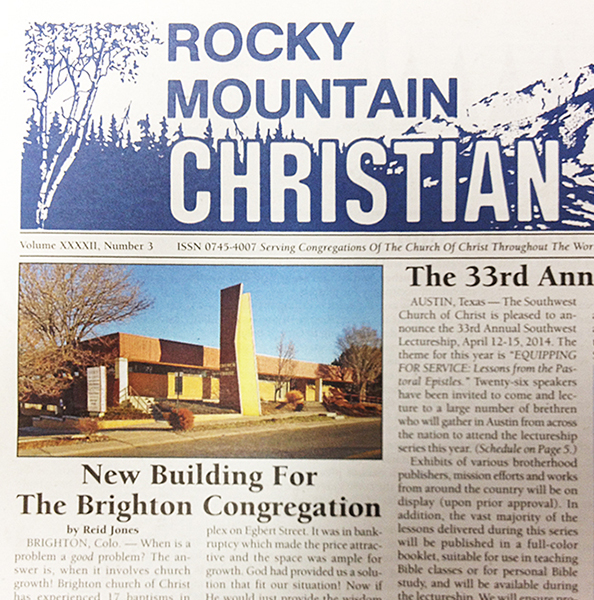 A recent front page of Rocky Mountain Christian