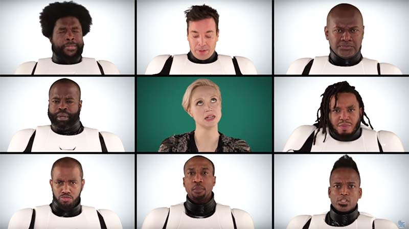 Gwendoline Christie (Captain Phasma) sings with Jimmy Fallon and The Roots.