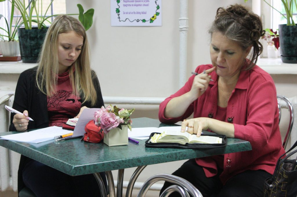 Students look up scriptures in their Bibles during a class at Ukrainian Bible Institute in 2011.