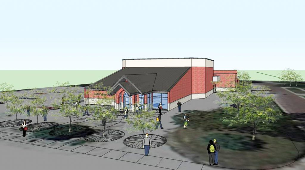 An artist's rendering of the planned performance arts center at York College in Nebraska.