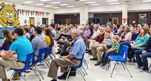 The Southpoint Church of Christ gathers for worship at Martin City Elementary School in Kansas City, Mo. After months at the school, the church has a new home.