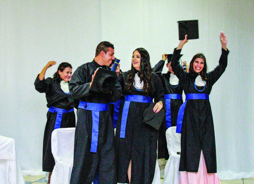 A few of the graduates of the SerCris program in Campo Grande, Brazil, celebrate.