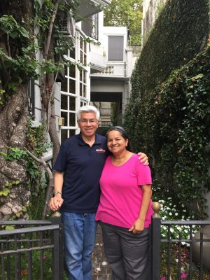 Hung V. Le, Pepperdine University's associate vice president and university registrar, with his wife, Corinne, at Pepperdine's faculty house in Buenos Aires, Argentina.