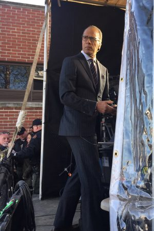 "Lester Holt, host of ""NBC Nightly News"" and member of a Church of Christ in New York, prepares for a live broadcast from Memphis."