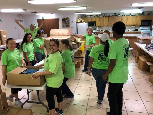 Volunteers organize relief supplies at the Bridge Avenue Church of Christ in Weslaco, Texas.