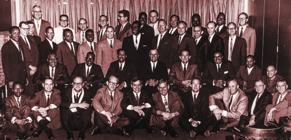 Black and white ministers pose for a group photo during the 1968 Atlanta meeting on race relations in Churches of Christ.