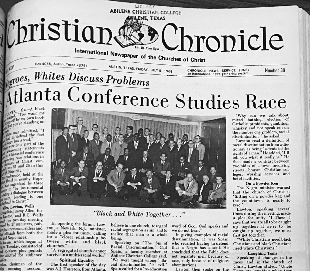 the atlanta meeting made the front page of the july 5 1968 christian chronicle