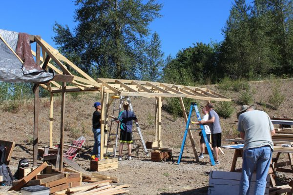 Volunteers work on the Agape Blitz project in Portland, Ore.