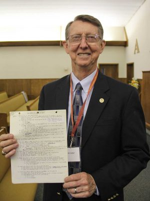 "Truitt Adair holds a copy of the first sermon he preached for the Kress Church of Christ 50 years ago. The title: ""Why Have You Sent for Me?"""