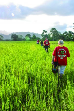 ERIK TRYGGESTAD In the Central American nation of Panama, Larry Brady from the Davenport Church of Christ in Alabama leads a mission team through tall grass to reach a remote village.
