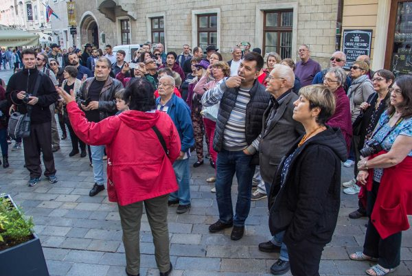 Workshop participants take a quick tour of Bratislava's old town. Their tour guide, Zdenka Hamerlikova, worships with the Church of Christ in Slovakia's capital.