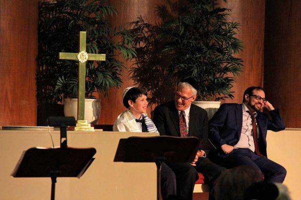 Family and church members celebrate Hans Cahnmann's bar mitzvah.