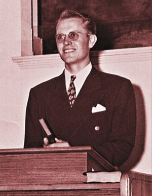 Carl Spain, shown in his younger days, was a Bible professor who delivered an explosive sermon on racial discrimination at Abilene Christian's 1960 Bible Lectureship.