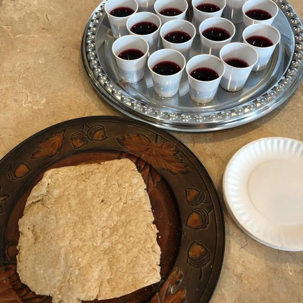 The communion bread and fruit of the vine at Reclaimed Church on a recent Sunday.