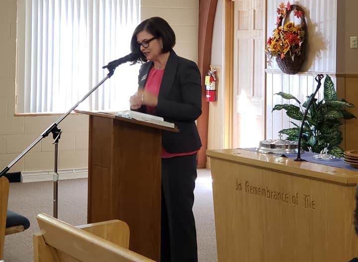 Jana Rucker speaks at the Minnesota State Ladies Day, hosted by the Richfield Church of Christ.