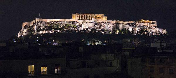 Night falls on Athens, Greece.
