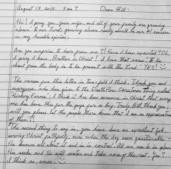 Carey Dean Moore wrote a letter to prison minister Bill Hance one day before Moore's execution.