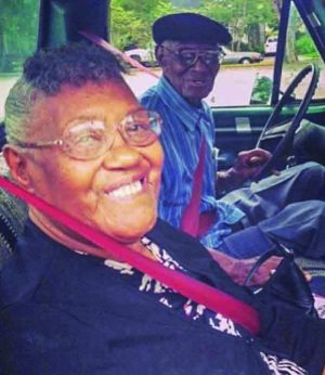 Earlene Love gets a ride to church from her friend Richard Overton in his 1971 Ford F100 pickup truck.