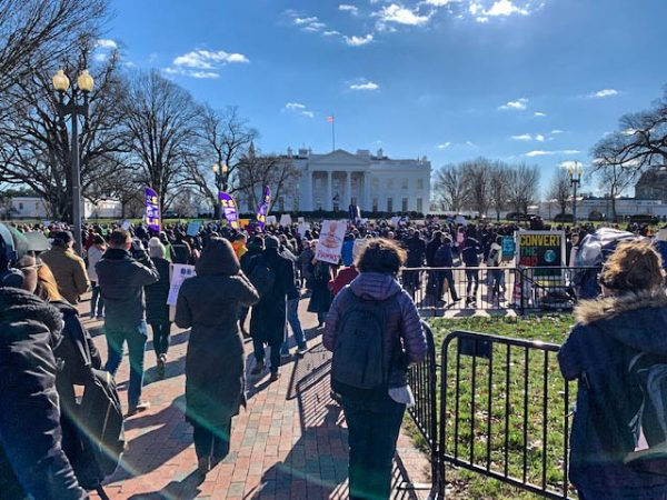 Protesters gather outside the White House in the midst of the historic government shutdown of 2017-18.