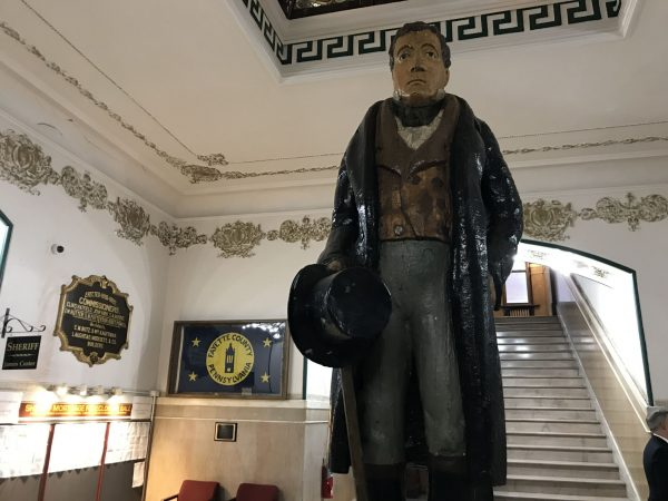 A statue of namesake Marquis de Lafayette at the Fayette County Courthouse in Uniontown, Pa.