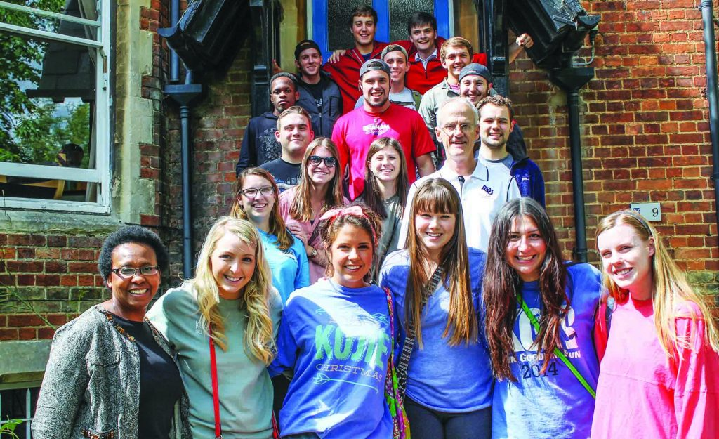 Orneita Burton stands with a group of her Abilene Christian University College of Business Administration students during a study abroad program in Oxford, England.