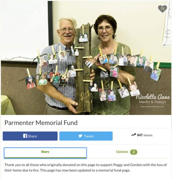A gofundme page posted after the Parmenters' house fire is now a memorial site.