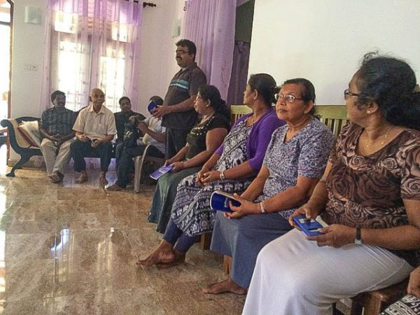 Members of a Church of Christ in Sri Lanka meet in a Christian's home.