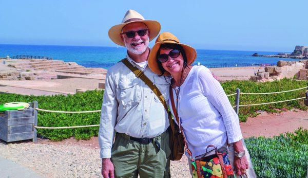 Jesse and JoAnn Long in Caesarea on Israel's Mediterranean coast.