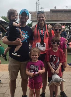 Katie's family is often found cheering her her on during her races.