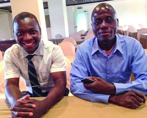 Samuel Jacob Waitala, left, and Bartumeio Banqueiro Biasse serve as evangelists for the Beira church.