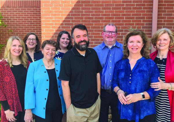 The Christian Chronicle's staff includes, from left, digital news editor Chellie Ison, administrative assistant Melinda Wilson, accountant Louise Beyer, advertising director Tonya Patton, incoming president and CEO Erik Tryggestad, incoming editor-in-chief Bobby Ross Jr., lead administrative assistant Lynda Sheehan and administrative assistant Joy McMillon.
