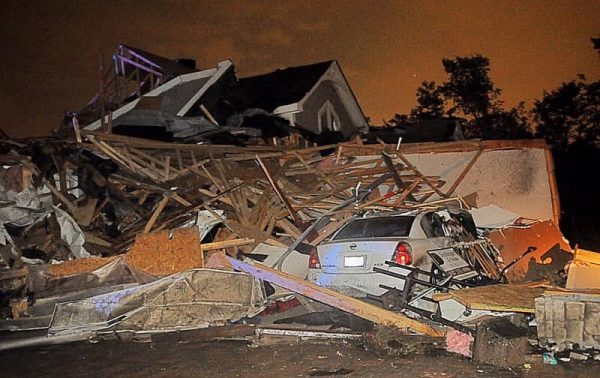 A home in Dayton collapsed after it was hit by a tornado on Memorial Day.
