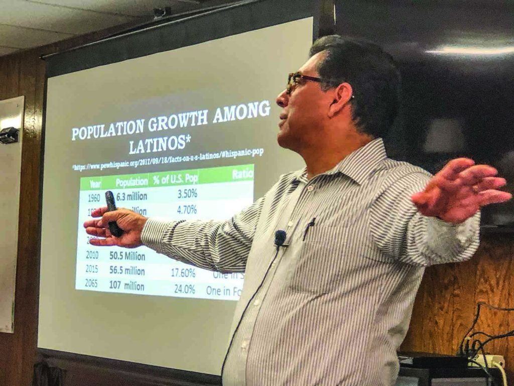Dan Rodriguez, who worships with the Hollywood Church of Christ in California, speaks at a seminar in Oklahoma City.