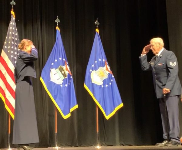 2nd Lieutenant Jaci Smith receives the traditional first salute from her grandfather Art Smith who served as an Air Force technical Sergeant. After leaving the Air Force, Art attended Bear Valley School of Preaching and served churches in Oklahoma and surrounding states for thirty years.