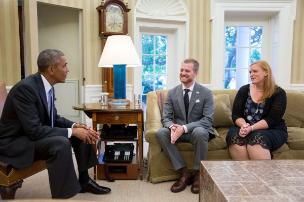 After surviving Ebola, Dr. Kent Brantly and his wife, Amber, meet President Barack Obama during a visit to the Oval Office on Sept. 16, 2014.