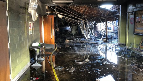 Inside the Memorial Drive church building following the fire.