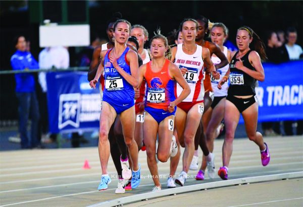 Jaci Smith (No. 25, Air Force Academy) competes in the 5k race during the NCAA championship preliminaries in Sacramento, Calif., on May 25.