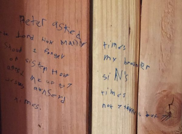 Brixton Ison, 9, wrote Matthew 18:21-22 on the wall between his room and his sister's room.