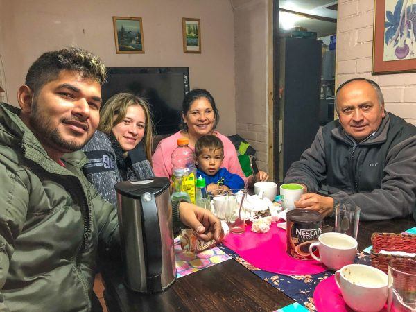 Venezuelan church members Brayan Castellano and his wife, Gabriella de Castellano, are living in the home of Chilean Christians Susanna Vasoalto and her husband, Raúl Fernández. Vasoalto holds the Castellanos' son, Christian.