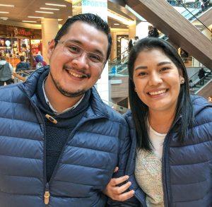 Nico Rodriguez and Alejandra Huezo at a Santiago shopping mall.