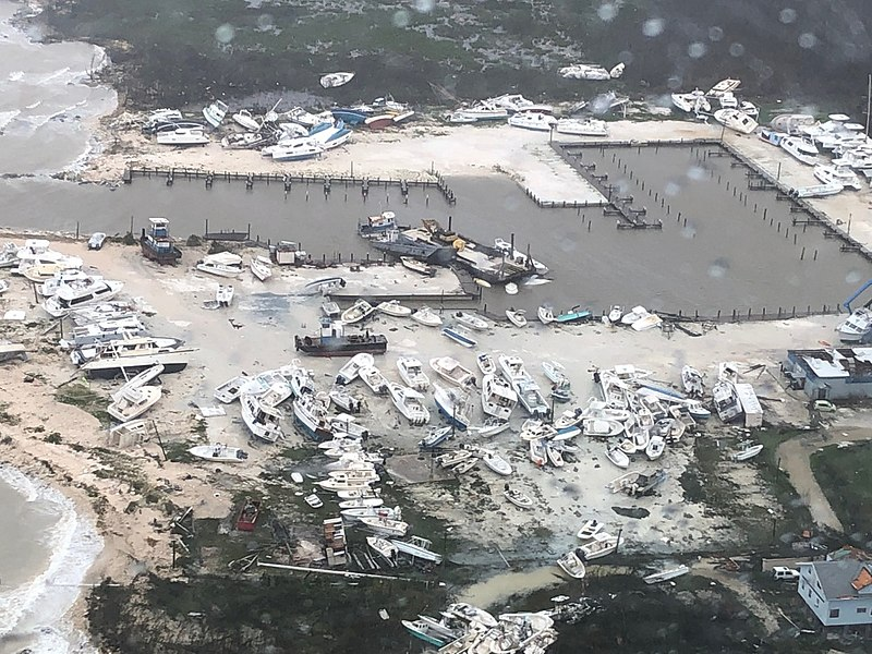 Hurricane Dorian destruction in Bahamas on September 2, 2019