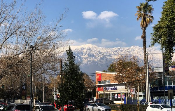 Mountains and palm trees are part of the scenery visible from a park near the meeting place of the Providencia Church of Christ.