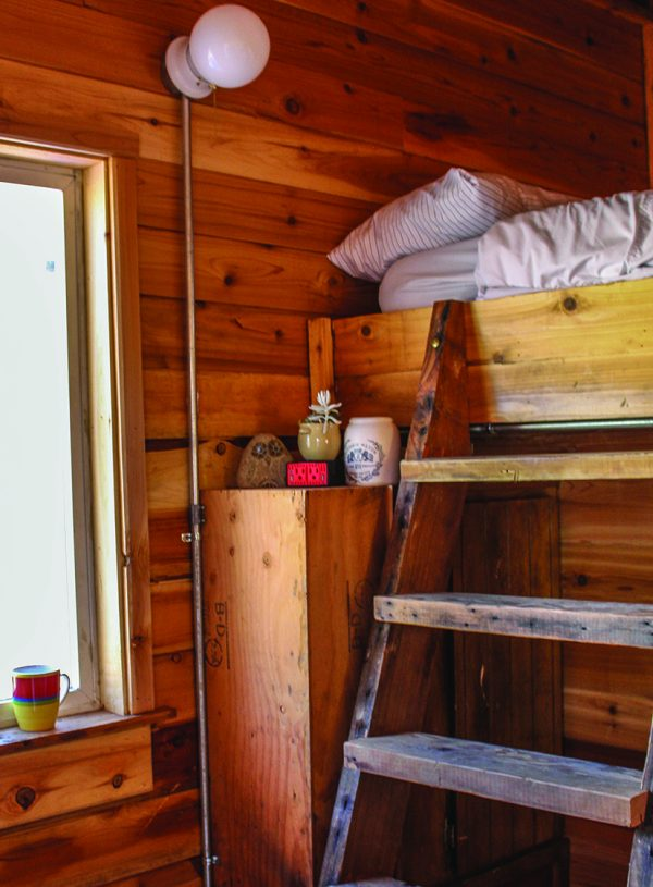 A view inside one of the 15 tiny houses at Agape Village in Portland, Ore.
