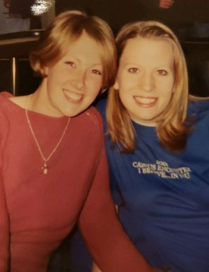 Chellie Ison and her friend Becky during their freshman year at Oklahoma State University.